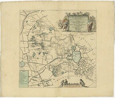 Antique Map of the Tietjerksteradeel township (Friesland) by Halma (1718)