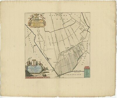 Antique Map of the Aengwirden township (Friesland) by Halma (1718)