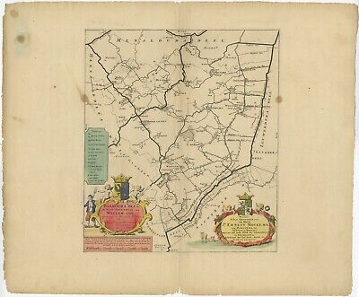 Antique Map of the Baarderadeel township (Friesland) by Halma (1718)