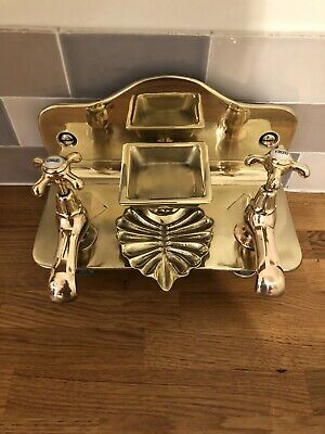 Victorian/old French Taps And Soap Dish On Back Plate