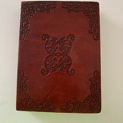 Handmade Leather Bound Journal Engraved Swirl Designs Travel Diary Notebook
