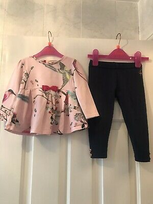 Ted Baker Girls Top And Navy Legging Set 12-18 Months Pink Flight Of The Orient