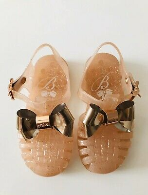 Ted Baker gold bow jelly sandals shoe infant size 6 Baby Girls
