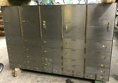 """Mosler Safety Deposit Bank Vault 1/2"""" Thick Doors 35 Boxes 4 different sizes"""