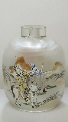 Vintage Chinese snuff bottle reverse glass painting warriors horses