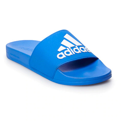 Adidas Men's Adilette Shower Slip On Sandals Slides Royal and White Size 11 NEW
