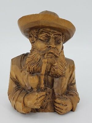 Vintage Hand Carved Wood Man with Beard Smoking Pipe