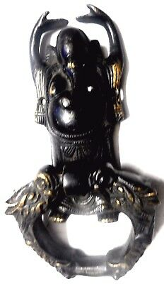 Happy Ganesha Shape Antique Vintage Style Handmade Brass Door Knocker Home Decor
