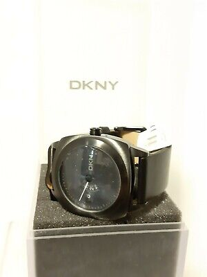 Donna Karen Dkny Mens Watch Ny-1217 New In Box Urban Leather Band Black