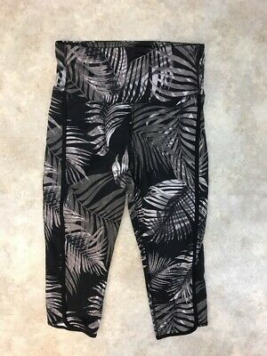 C9 Champion Women's Black/Brown Leaf Print Cropped Activewear Leggings M