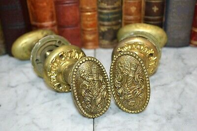 One Pair French Style Brass Oval Door Knobs Torch Floral Ribbon Beaded 2 Avail