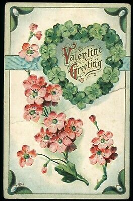 Valentine Greeting Vintage Embossed Valentine Day Postcard Posted