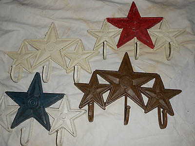 Cast Iron 3 Star Hat / Coat Hook 3 Hooks Rust White Red Or Blue Stars (1 Choice)