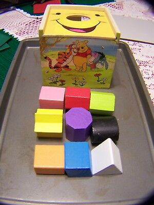Educational Toy With 9 Shapes 5766 Melissa /& Doug Disney Baby Winnie the Pooh Wooden Shape Sorting Cube