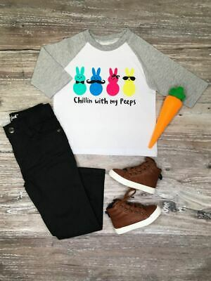 Toddler, Boys Easter Chillin' With My Peeps Gray Raglan T-Shirt 2T 3T 4T 5 6 7 8
