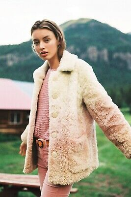 Anthropologie Ombre Faux Fur Coat NWT Large Cream Blush Pink