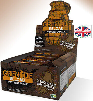 Grenade Reload Protein Flapjacks 12 x 70 g Bars Chocolate Browning *BRAND NEW*
