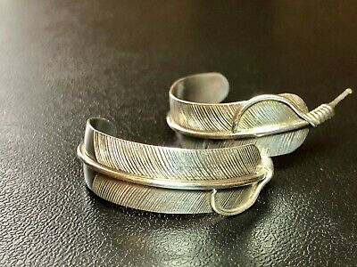Native American Chester Charley Shiny Sterling Silver Feather Hoop Earrings Chic