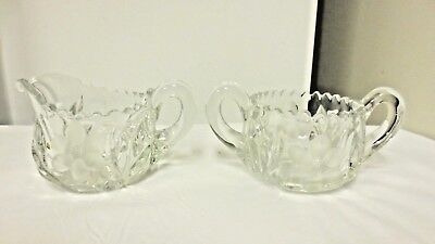 Older Cut & Etched Floral Clear Glass Creamer/Open Sugar Bowl Set-Sawtooth Edge