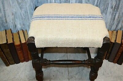 Antique English Turned Wood Footstool European Blue Stripe Grain Sack Upholstery