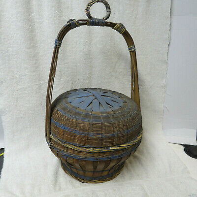 Antique LARGE Chinese Wedding Hanging Basket Bamboo Woven w/Handle - Original