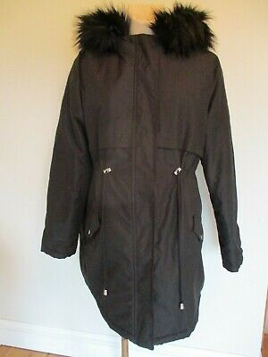 New Look Maternity Black Quilted Parka Coat Mac Jacket Size 14