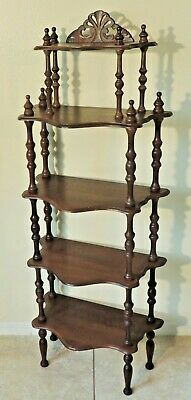 Large Antique/Vtg Solid Mahogany Turned Carved 5 Tier Book Stand Shelf Etagere
