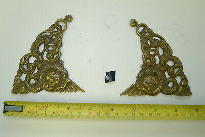 9) Antique PAIR ARCH CLOCK SPANDRELS Cast Yellow Brass Longcase & screws