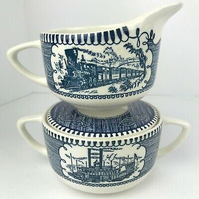 Currier And Ives Royal USA Cream and Sugar Bowl  Steam Boat and Locamotive