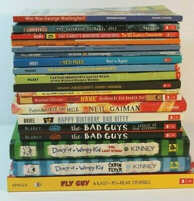 Lot Of 19 Childrens Chapter Books Diary Of A Wimpy Bad Guys Captain Underpants