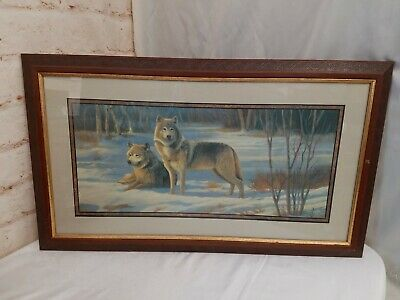 """Home Interiors Artwork Matted Framed Print Wolf Wolves In Snow 31"""" x 18"""""""
