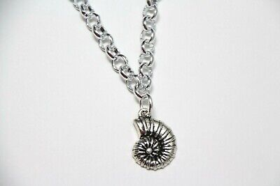 Ammonite Charm Snail Fossil Themed Pewter Pendant Rhodium Chain Necklace 18""