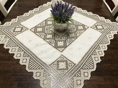 Vintage Floral Embroidered Ivory Table Topper w/ Knotted Lace 32x34 (RF1067)