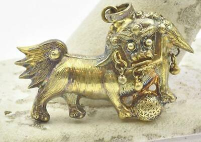 Antique Solid Silver Chinese export Style Gold Plated Lion Pendant Circa 1945