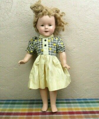 "Vintage Ideal Shirley Temple 18"" Composition Doll with Sleepy Eyes"