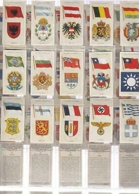 FULL SET 50 NATIONAL FLAGS & ARMS  83yrs old  CIGARETTE CARDS