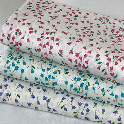 Rose & Hubble - 100% Cotton Fabrics Mini tulips  3 piece FAT QUARTER bundle AM21