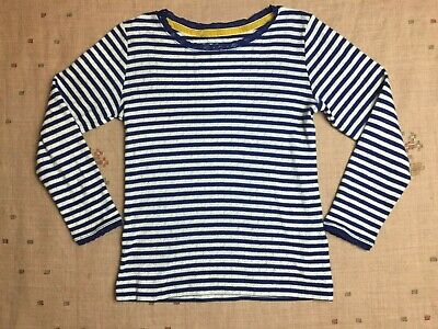 Mini Boden Royal Blue and White Striped Pointelle Shirt, Size 6