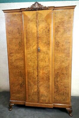 Good Quality Burr Walnut Breakfront Wardrobe Circa 1920