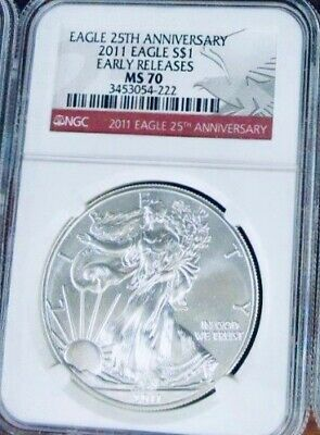2011 American Silver Eagle - NGC MS-70 -  Mint State 70  25th Anniversary Label