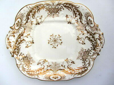 Antique WHITE & GOLD Handpainted ROCOCO China SERVING CAKE PLATE / PLATTER