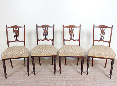 4 Antique Edwardian Dining Chairs Inlaid Mahogany Carved