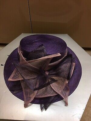 Ladies Purple Wide Brim Hat Weddings/Races/Occasions By Jacques Worn Once
