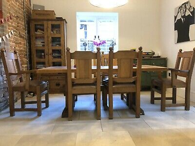 Arts And Crafts Antique Dining Table And 6 Chairs