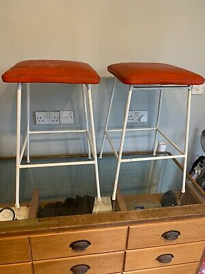 A Pair of (2) MatchIng Stunning Retro 1960's 70s Red Bar Stools with White Legs