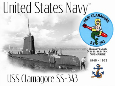 USS CLAMAGORE SS-343 SUBMARINE   -  Postcard