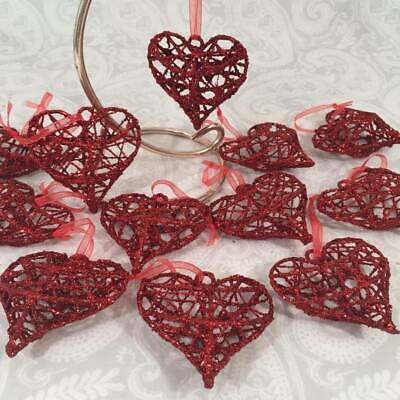 """12  Hanging Valentines Rustic Red Glitter 2.5"""" Wire Heart Ornaments Tree Decor"""