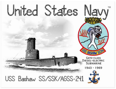 USS BASHAW SS/SSK/AGSS-241 SUBMARINE -  Postcard
