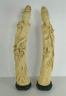 """Ivory Colored Chinese Nobles Statues or Figures on Stands - 26"""" Tall Pair of 2"""