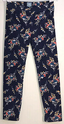 Baby Gap Little Girl's Sz 5 Leggings Elastic Waist Navy Blue Corduroy w/ Flowers